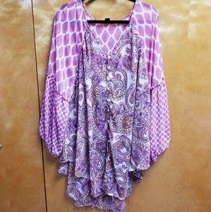 🎶Pink and purple paisley Roaman's top🎶